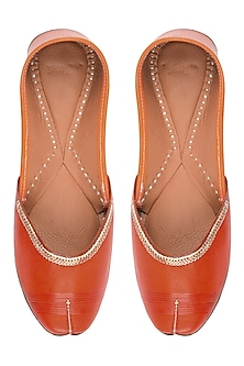 Orange Leather Classic Jutti's by Punjla