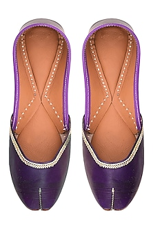 Purple Leather Classic Jutti's by Punjla