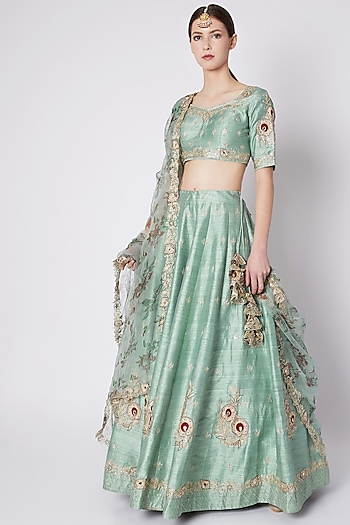 Mint Green Embroidered & Printed Lehenga Set by Pleats by Kaksha & Dimple