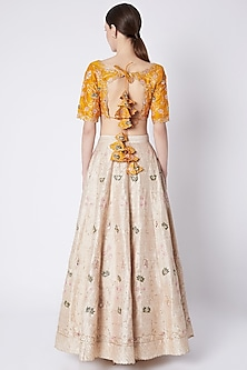 Nude & Yellow Embroidered Printed Lehenga Set by Pleats by Kaksha & Dimple