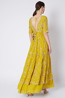 Lemon Yellow Embroidered Jacket Set by Pleats by Kaksha & Dimple