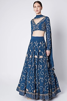 Persian Blue Embroidered Lehenga Set by Pleats by Kaksha & Dimple