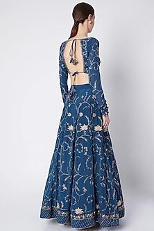 Persian Blue Embroidered Lehenga Set by Pleats by Kaksha & Dimple