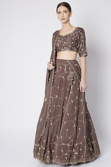 Brown Embroidered Lehenga Set by Pleats by Kaksha & Dimple