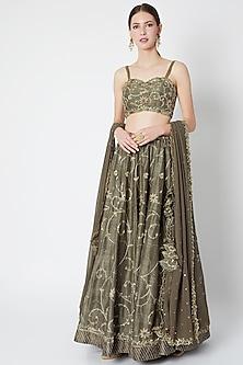 Dark Olive Green Embroidered Lehenga Set by Pleats by Kaksha & Dimple