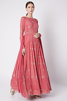 Pink Embroidered Anarakli With Dupatta by Pleats by Kaksha & Dimple