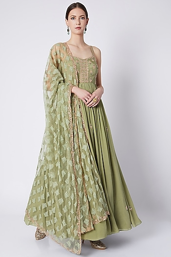 Olive Green Embroidered Anarkali Set by Pleats by Kaksha & Dimple