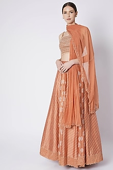Orange Embroidered & Printed Lehenga Set by Pleats by Kaksha & Dimple