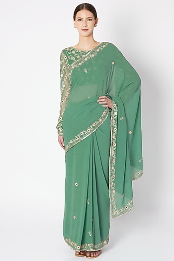 Pastel Green Embroidered Saree Set by Pleats by Kaksha & Dimple