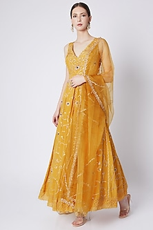 Mustard Yellow Embroidered Anarkali With Dupatta by Pleats by Kaksha & Dimple