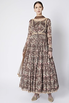 Brown Printed & Embroidered Anarkali With Dupatta by Pleats by Kaksha & Dimple