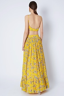 Yellow Printed & Embroidered Lehenga Set by Pleats by Kaksha & Dimple