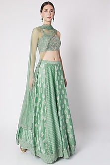Pastel Green Printed & Embroidered Lehenga Set by Pleats by Kaksha & Dimple