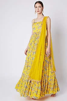 Yellow Embroidered & Printed Anarakali With Dupatta by Pleats by Kaksha & Dimple