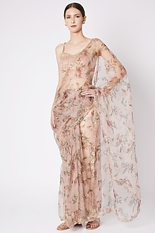 Blush Pink Embroidered & Printed Saree Set by Pleats by Kaksha & Dimple