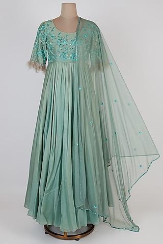 Aqua Blue Embroidered Anarkali Set by Pleats By Kaksha & Dimple