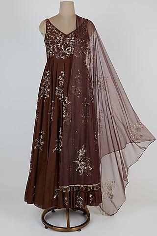 Brown Embroidered Anarkali Set by Pleats By Kaksha & Dimple