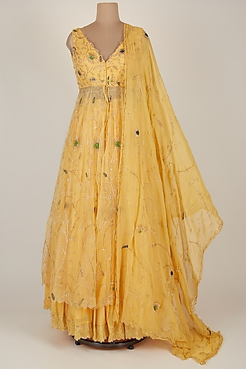 Yellow Embroidered Jacket Lehenga Set by Pleats by Kaksha & Dimple