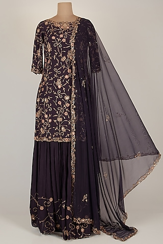 Violet Embroidered Tunic Set by Pleats By Kaksha & Dimple