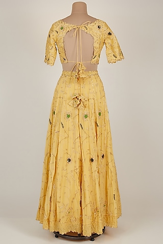 Yellow Embroidered Lehenga Set by Pleats By Kaksha & Dimple