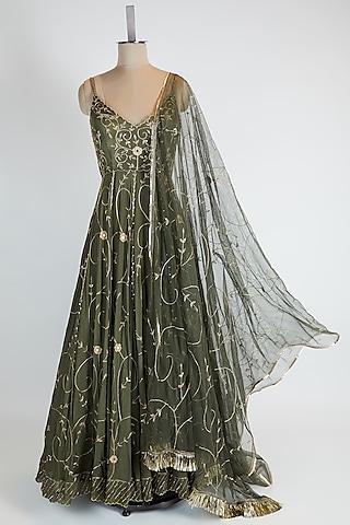 Olive Green Embroidered Anarkali Set by Pleats By Kaksha & Dimple