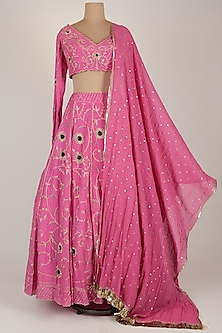Pink Embroidered Lehenga Set by Pleats by Kaksha & Dimple