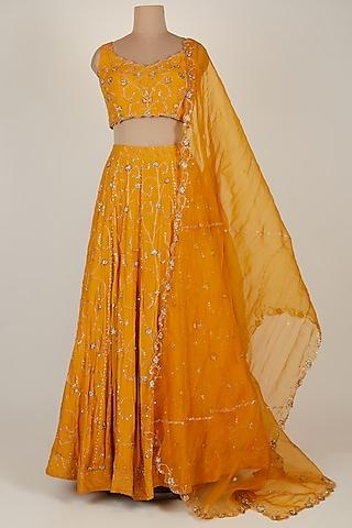 Orange Embroidered Lehenga Set by Pleats by Kaksha & Dimple