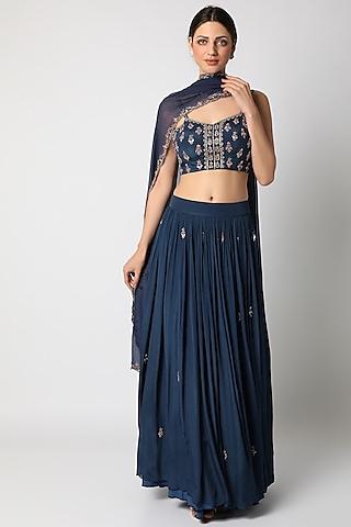 Sapphire Blue Lehenga Set With Buttis by Pleats By Kaksha & Dimple