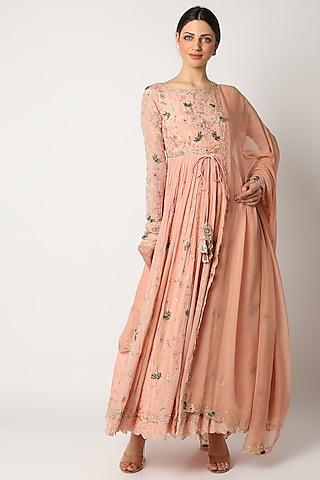 Peach Embellished Anarkali Set by Pleats By Kaksha & Dimple