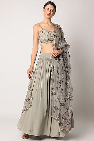 Grey Printed Lehenga Set by Pleats By Kaksha & Dimple