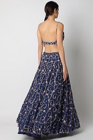 Sapphire Blue Embellished Lehenga Set by Pleats By Kaksha & Dimple