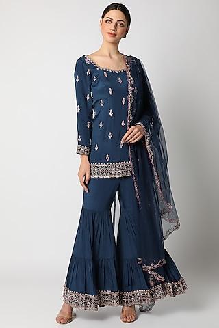 Sapphire Blue Embellished Tunic Set by Pleats By Kaksha & Dimple