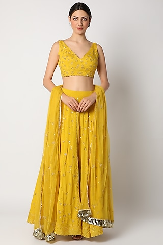 Canary Yellow Embroidered Lehenga Set by Pleats By Kaksha & Dimple