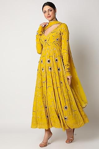 Pineapple Yellow Anarkali Set With Zardosi Work by Pleats By Kaksha & Dimple