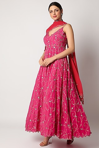 Pink Embroidered Anarkali Set by Pleats By Kaksha & Dimple