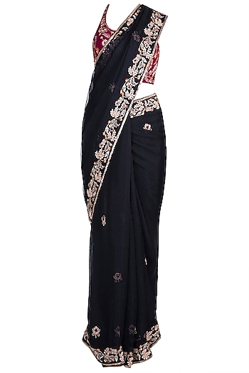 Black & Pink Embroidered Saree Set by Pleats by Kaksha & Dimple