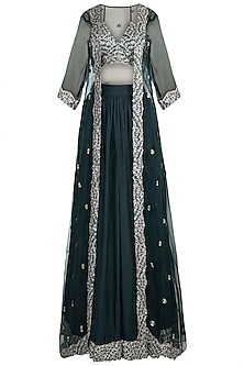 Green Embroidered Lehenga Set With Jacket by Pleats by Kaksha & Dimple
