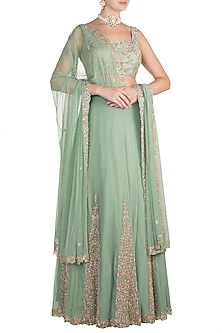 Mint Green Embroidered Lehenga Set by Pleats by Kaksha & Dimple