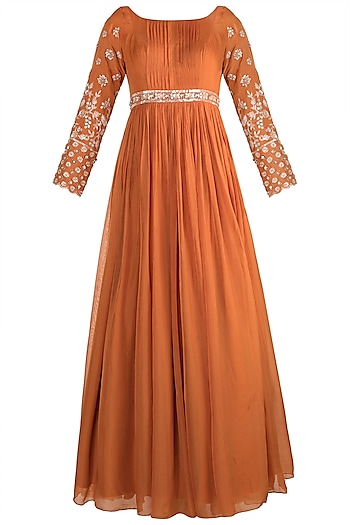 Orange Embellished Anarkali With Dupatta by Pleats by Kaksha & Dimple