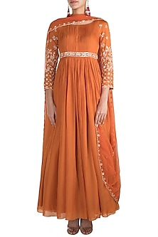 Orange Embellished Anarkali With Dupatta by Pleats by Kaksha & Dimple