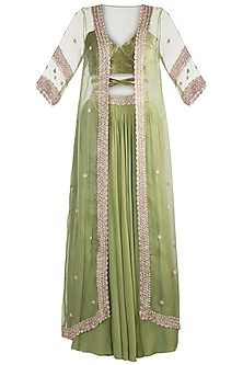 Parrot Green Embellished Crop Top With Skirt & Jacket by Pleats by Kaksha & Dimple