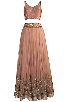 Brown Embellished Lehenga Set by Pleats by Kaksha & Dimple