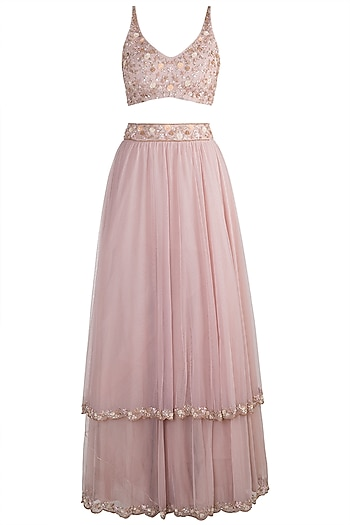 Pink Embellished Lehenga Set by Pleats by Kaksha & Dimple