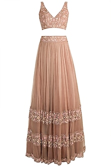 Peach Embellished Lehenga Set by Pleats by Kaksha & Dimple