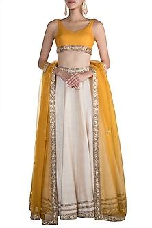 Ivory & Yellow Embellished Lehenga Set by Pleats by Kaksha & Dimple