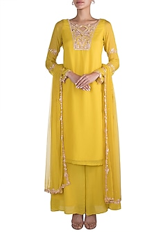 Lime Yellow Embellished Kurta Set by Pleats by Kaksha & Dimple