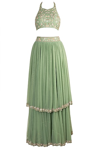 Green Embroidered Lehenga Set by Pleats by Kaksha & Dimple