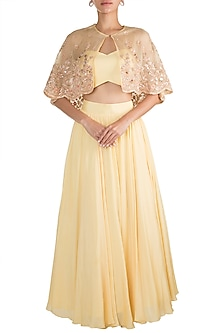 Yellow Skirt With Bustier & Embellished Cape by Pleats by Kaksha & Dimple