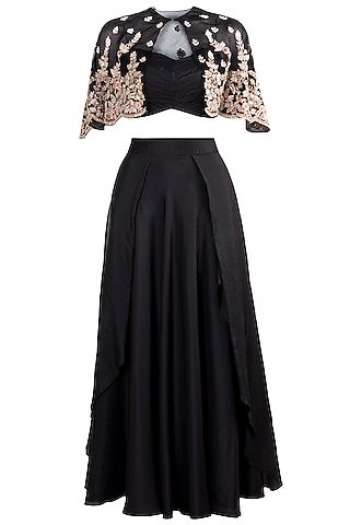 Black Draped Skirt With Bustier & Embellished Cape by Pleats by Kaksha & Dimple