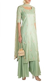 Mint Green Embellished Tunic Set by Pleats by Kaksha & Dimple
